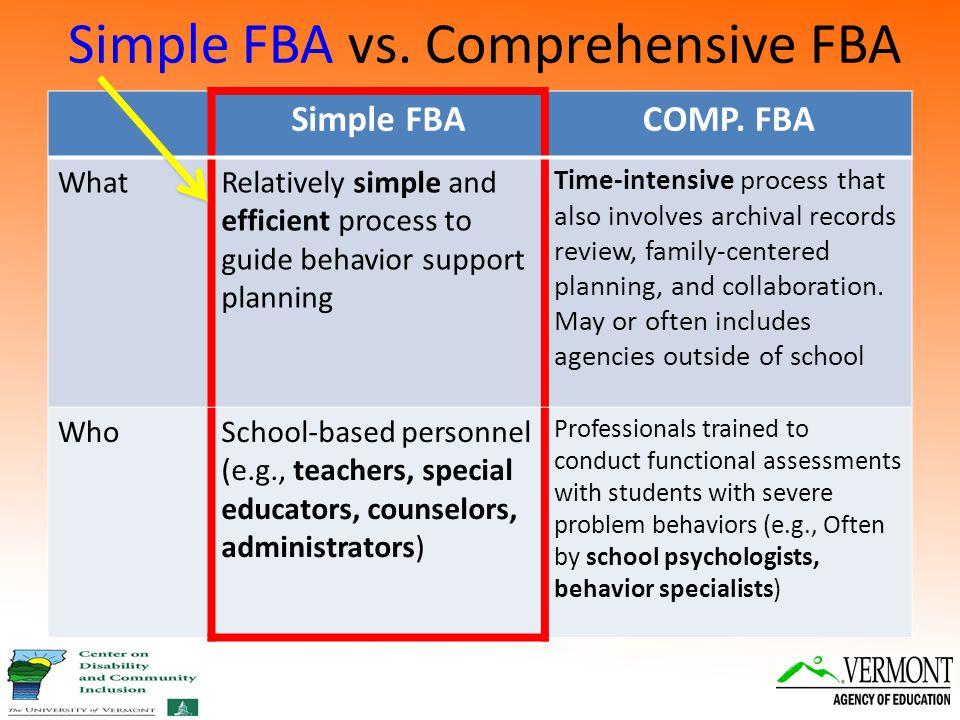 Simple FBA vs. Comprehensive FBA Simple FBACOMP.