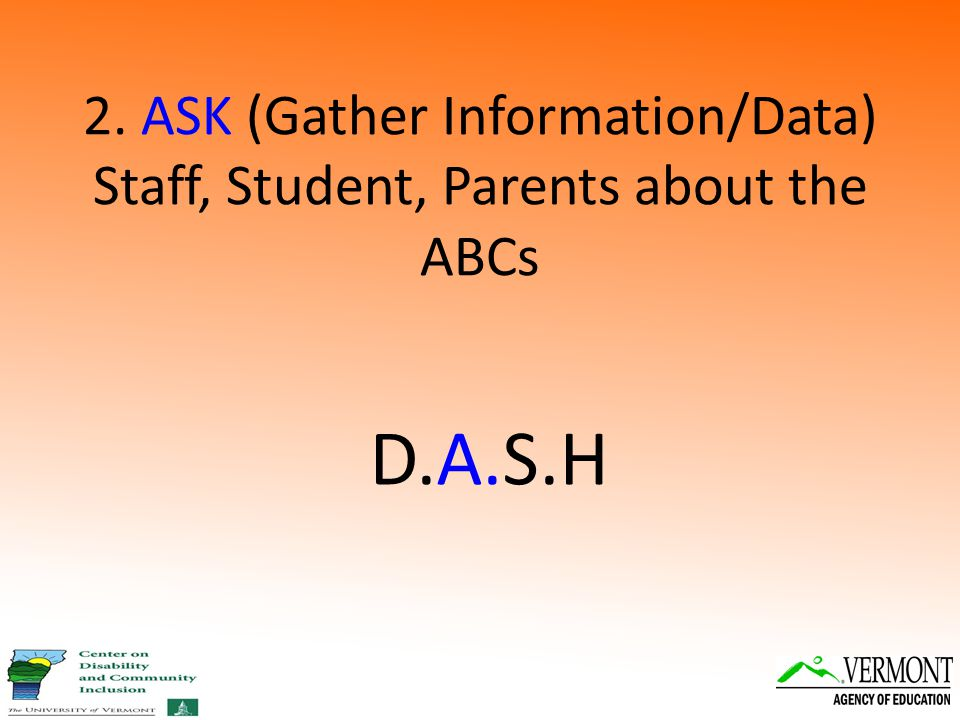 2. ASK (Gather Information/Data) Staff, Student, Parents about the ABCs D.A.S.H