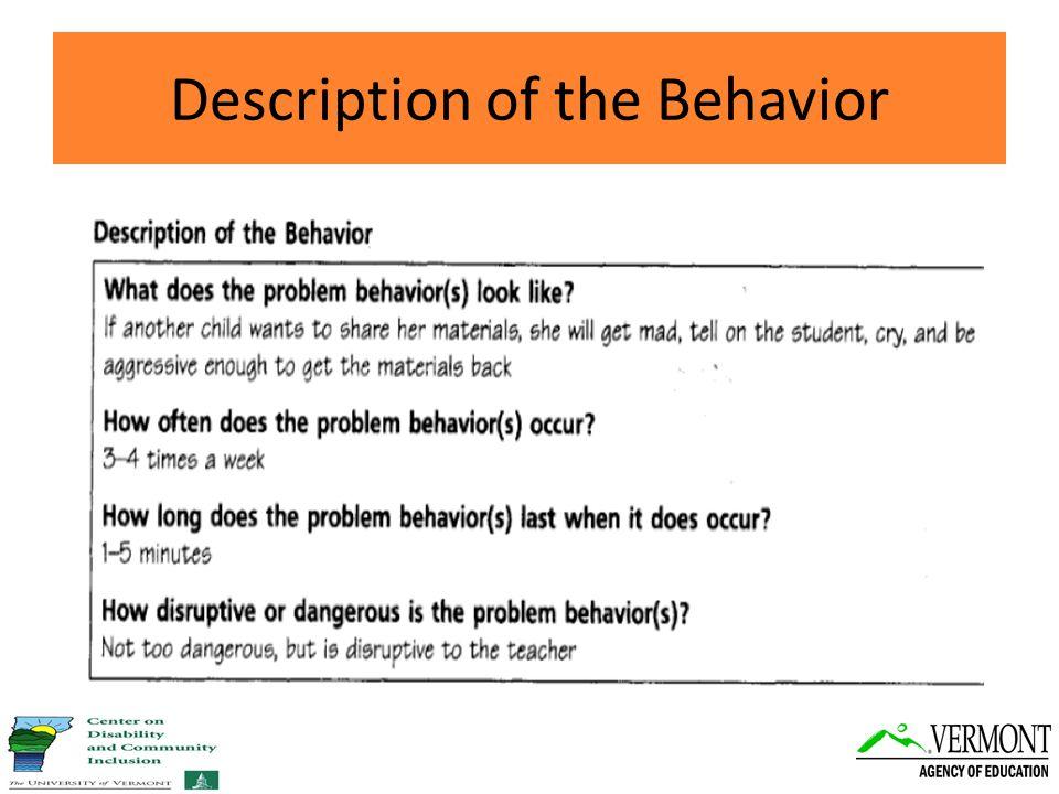 Description of the Behavior