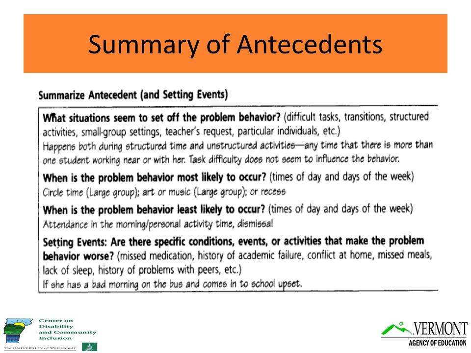 Summary of Antecedents