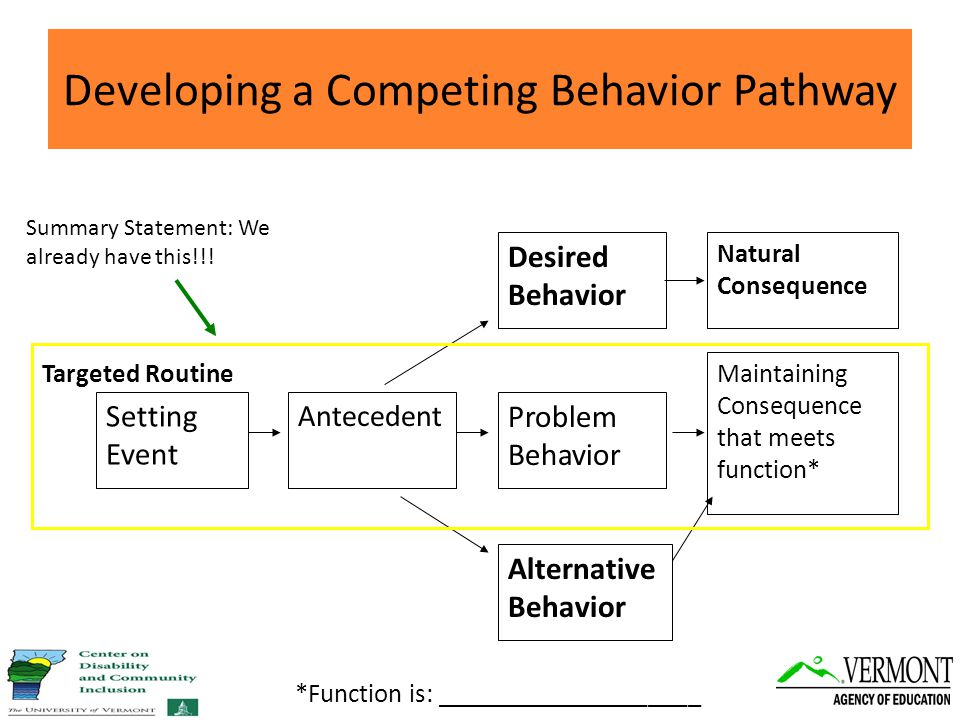 Developing a Competing Behavior Pathway Natural Consequence Maintaining Consequence that meets function* Desired Behavior Problem Behavior Alternative Behavior Antecedent Setting Event Targeted Routine Summary Statement: We already have this!!.