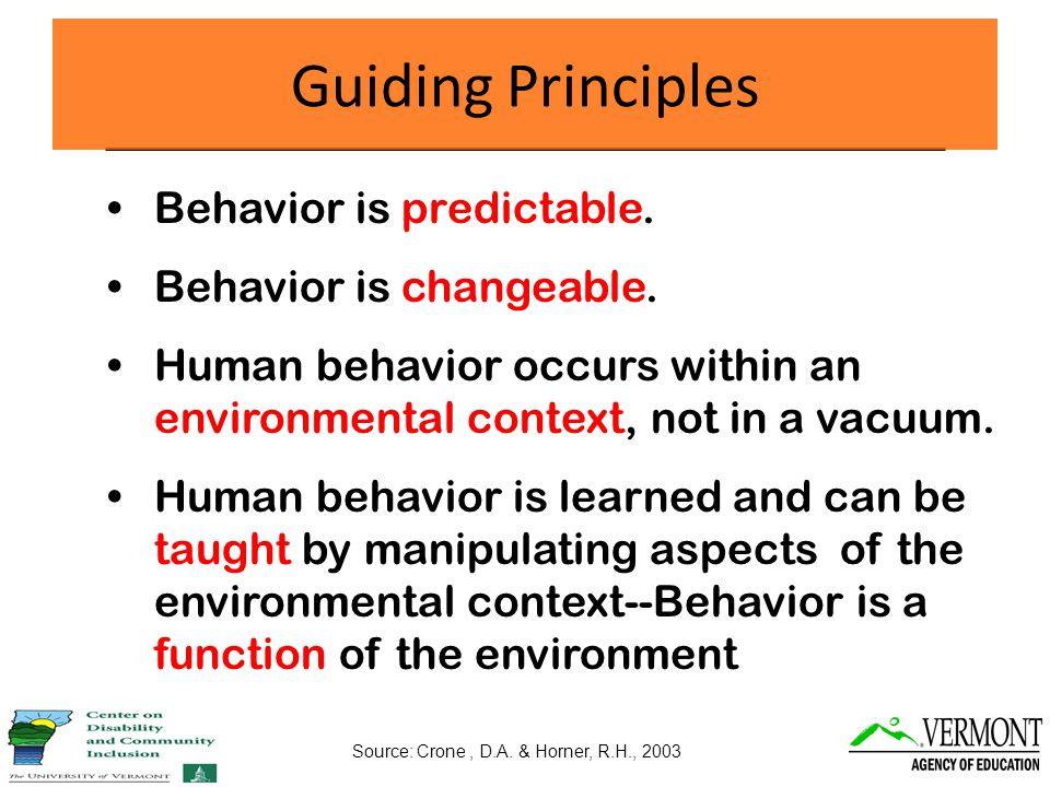 Behavior is predictable. Behavior is changeable.