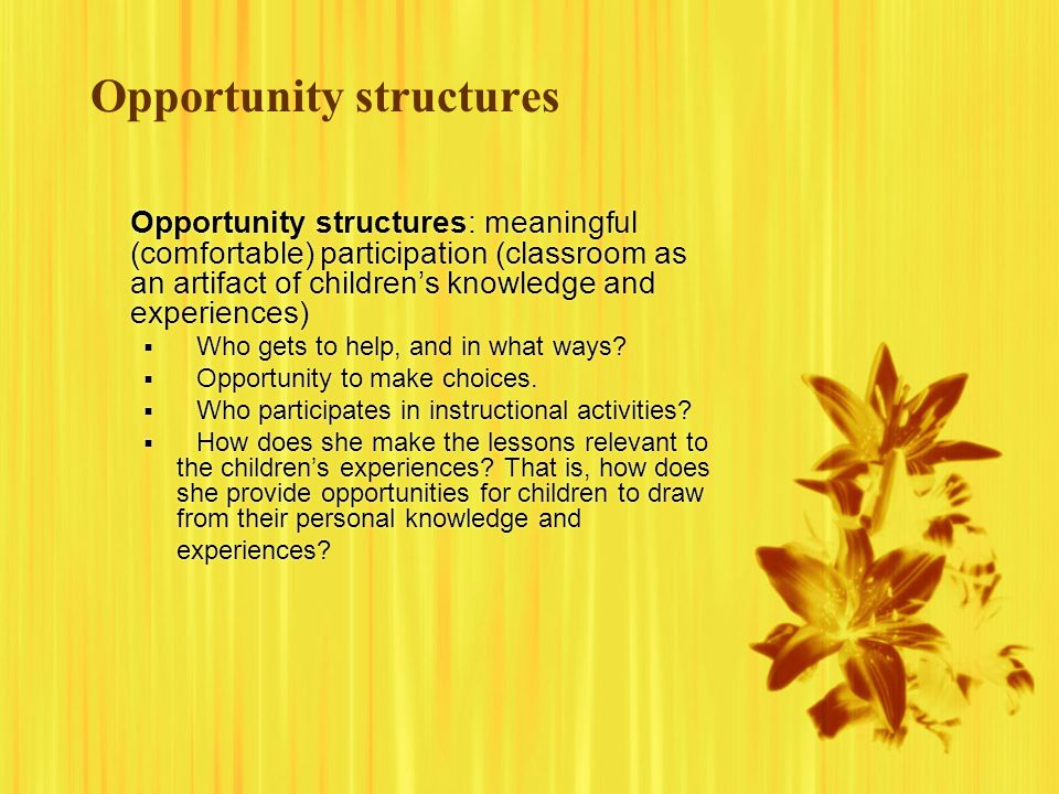 Opportunity structures Opportunity structures: meaningful (comfortable) participation (classroom as an artifact of children's knowledge and experiences)  Who gets to help, and in what ways.