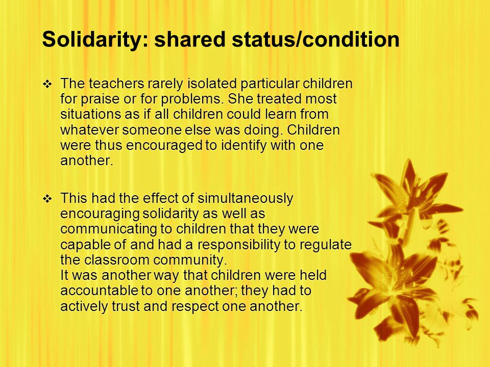 Solidarity: shared status/condition  The teachers rarely isolated particular children for praise or for problems.