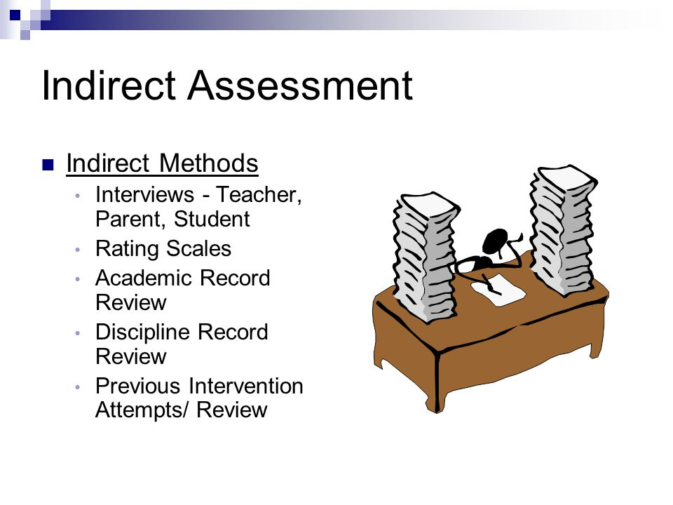Indirect Assessment Indirect Methods Interviews - Teacher, Parent, Student Rating Scales Academic Record Review Discipline Record Review Previous Inte