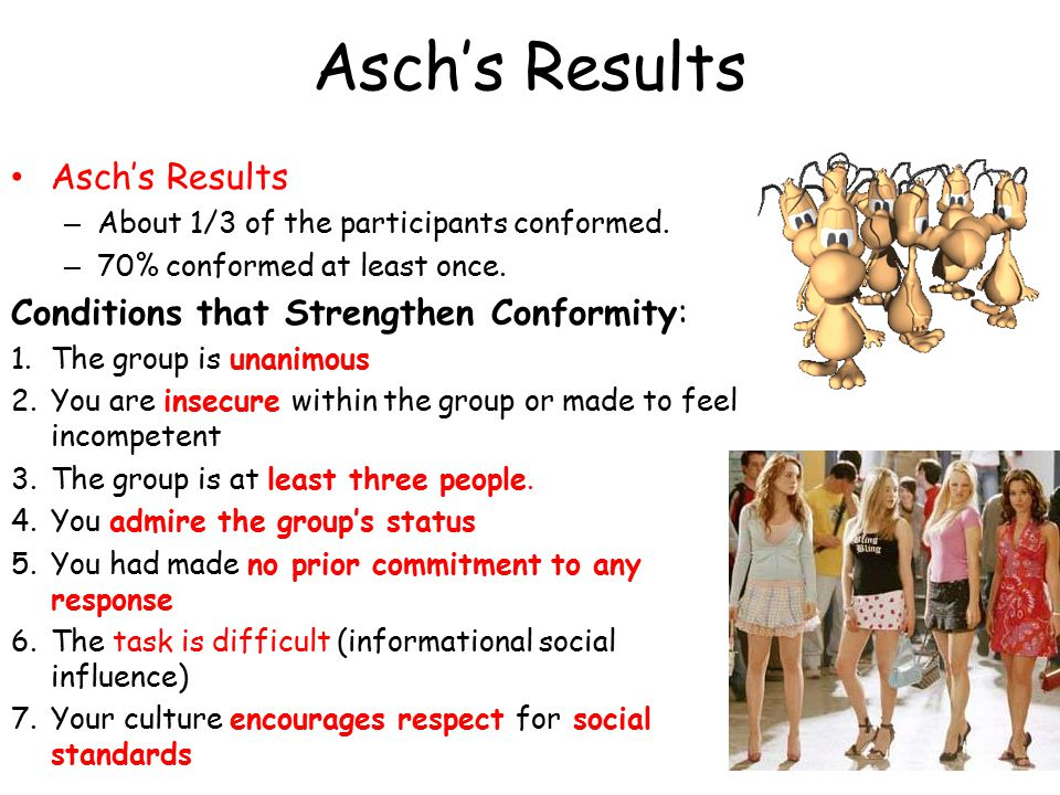 Asch's Results – About 1/3 of the participants conformed.