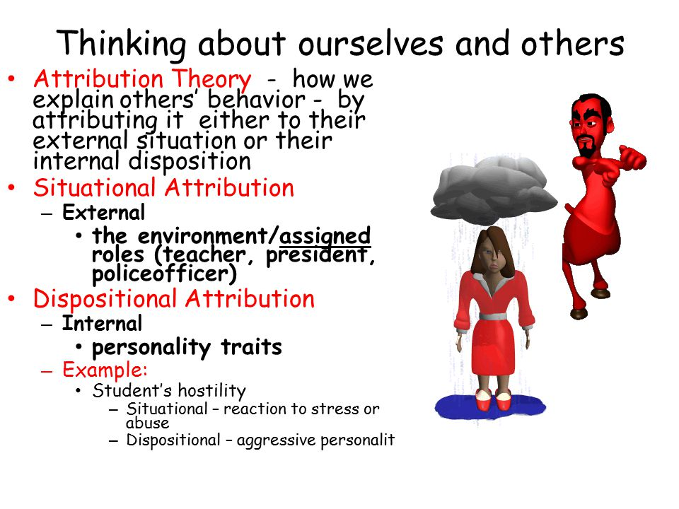 Thinking about ourselves and others Attribution Theory - how we explain others' behavior - by attributing it either to their external situation or their internal disposition Situational Attribution – External the environment/assigned roles (teacher, president, policeofficer) Dispositional Attribution – Internal personality traits – Example: Student's hostility – Situational – reaction to stress or abuse – Dispositional – aggressive personalit