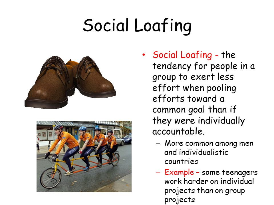 Social Loafing Social Loafing - the tendency for people in a group to exert less effort when pooling efforts toward a common goal than if they were individually accountable.
