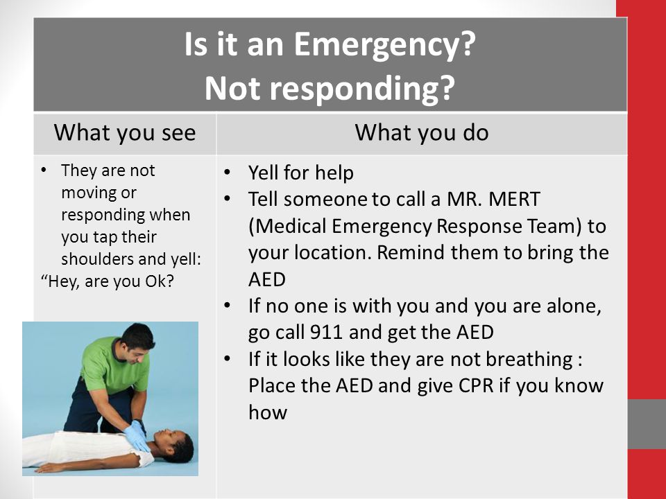 "Is it an Emergency? Not responding? What you seeWhat you do They are not moving or responding when you tap their shoulders and yell: ""Hey, are you Ok?"