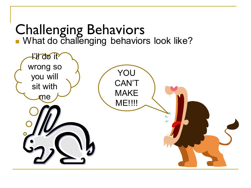 Challenging Behaviors What do challenging behaviors look like? YOU CAN'T MAKE ME!!!! I'll do it wrong so you will sit with me