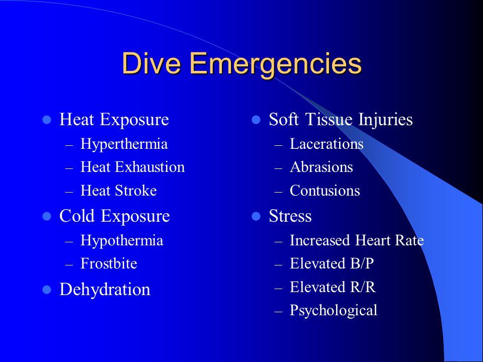 Dive Emergencies Heat Exposure – Hyperthermia – Heat Exhaustion – Heat Stroke Cold Exposure – Hypothermia – Frostbite Dehydration Soft Tissue Injuries