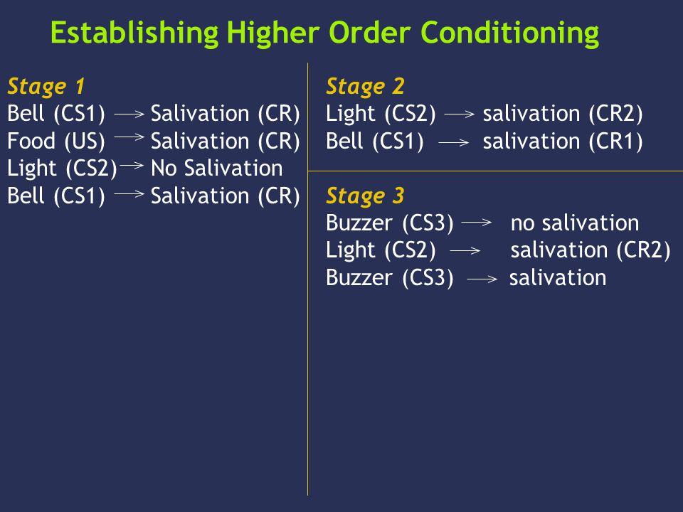 Establishing Higher Order Conditioning Stage 1 Bell (CS1) Salivation (CR) Food (US) Salivation (CR) Light (CS2) No Salivation Bell (CS1) Salivation (CR) Stage 2 Light (CS2) salivation (CR2) Bell (CS1) salivation (CR1) Stage 3 Buzzer (CS3) no salivation Light (CS2) salivation (CR2) Buzzer (CS3) salivation