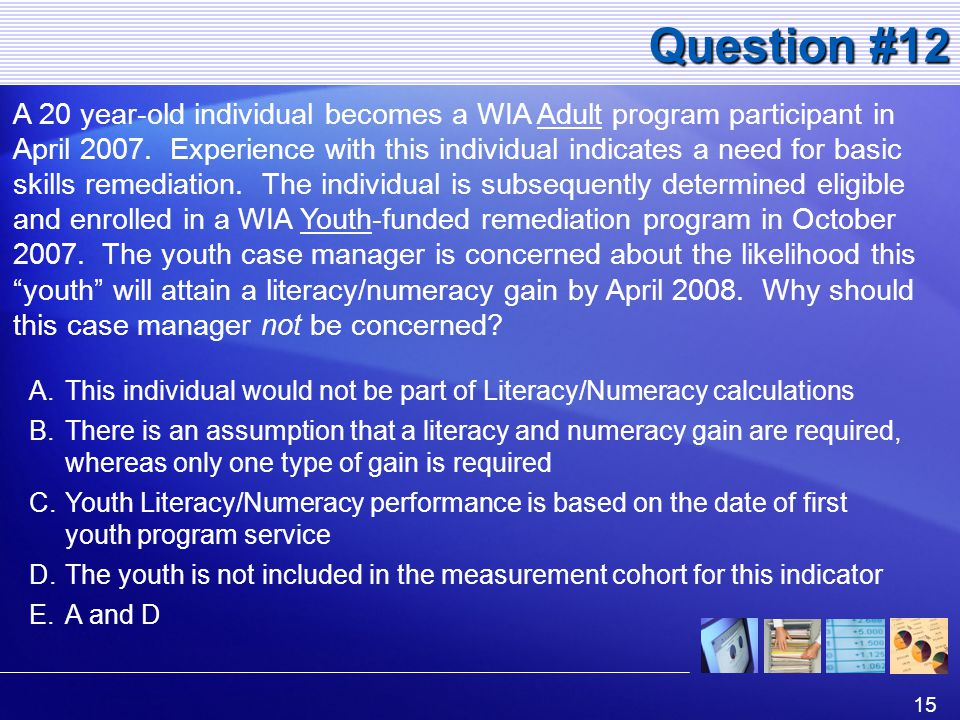 15 Question #12 A 20 year-old individual becomes a WIA Adult program participant in April 2007.