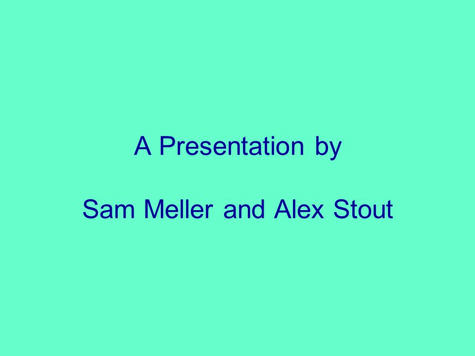 A Presentation by Sam Meller and Alex Stout