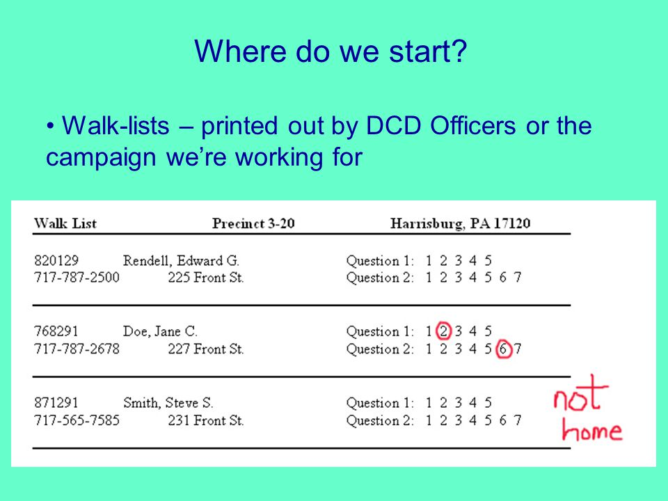 Where do we start? Walk-lists – printed out by DCD Officers or the campaign we're working for