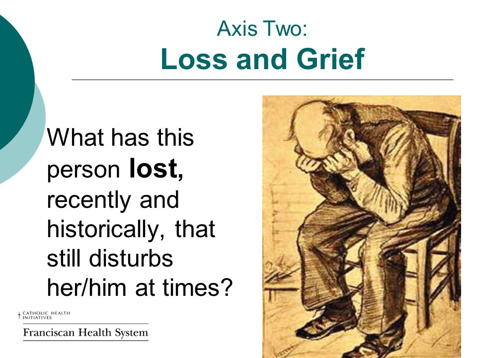 Axis Two: Loss and Grief What has this person lost, recently and historically, that still disturbs her/him at times.