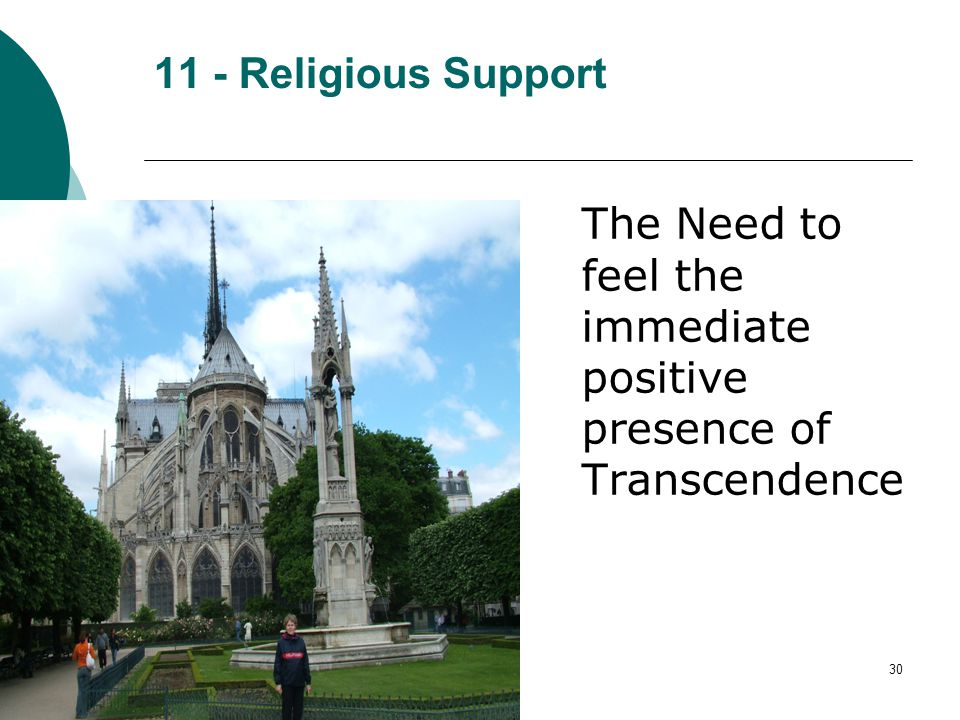 11 - Religious Support The Need to feel the immediate positive presence of Transcendence 30