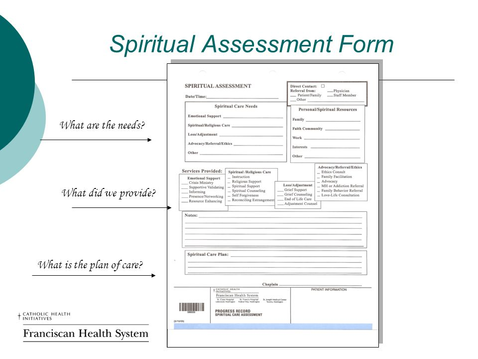 Spiritual Assessment Form What are the needs What did we provide What is the plan of care