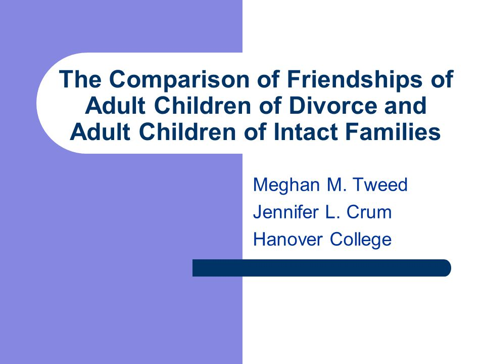 The Comparison of Friendships of Adult Children of Divorce and Adult Children of Intact Families Meghan M.
