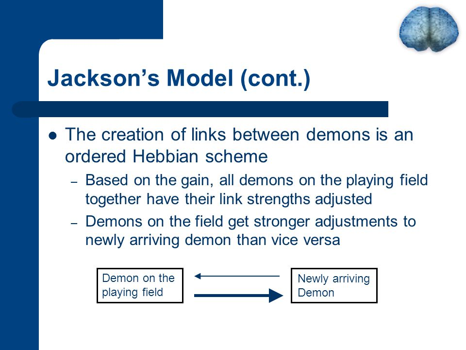 Jackson's Model (cont.) The creation of links between demons is an ordered Hebbian scheme – Based on the gain, all demons on the playing field together have their link strengths adjusted – Demons on the field get stronger adjustments to newly arriving demon than vice versa Demon on the playing field Newly arriving Demon