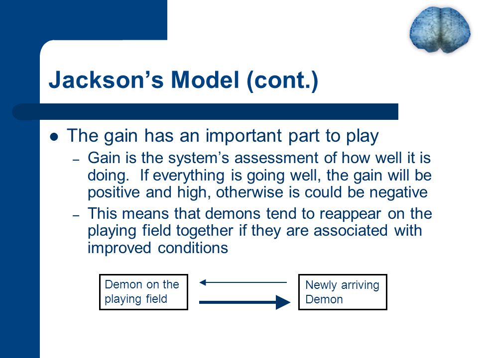 Jackson's Model (cont.) The gain has an important part to play – Gain is the system's assessment of how well it is doing.