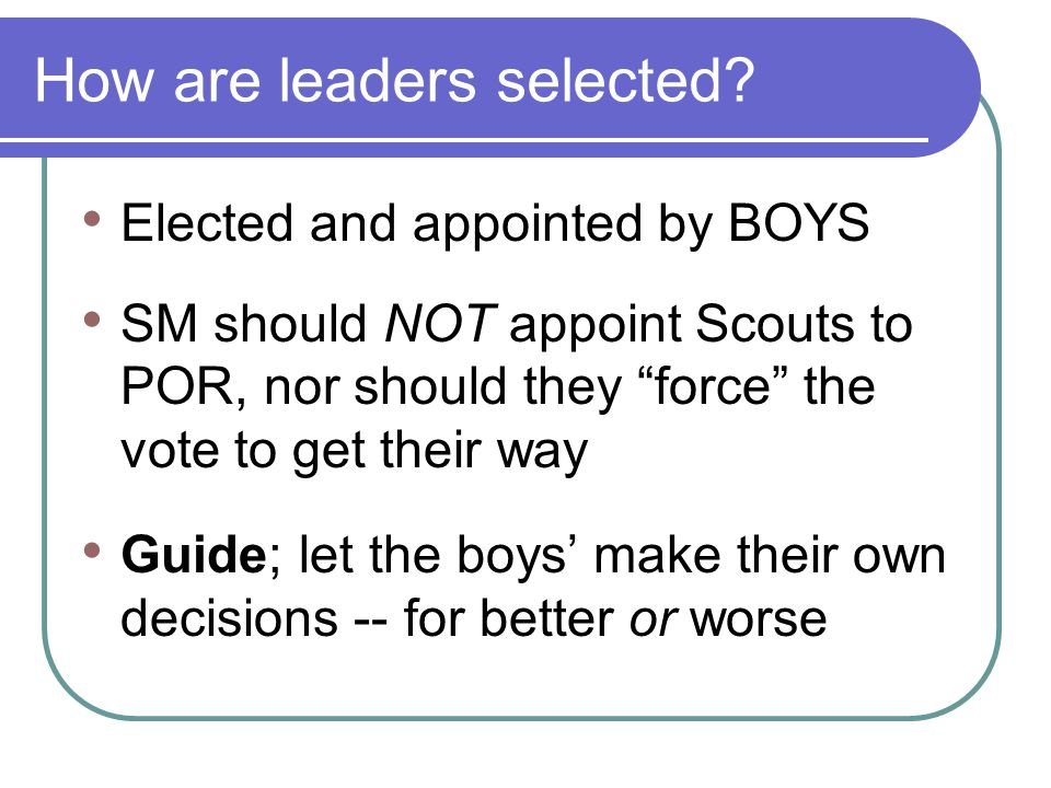 How are leaders selected.