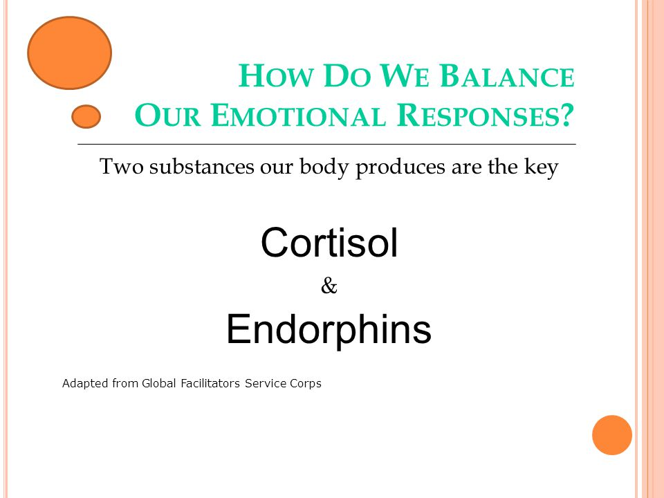H OW D O W E B ALANCE O UR E MOTIONAL R ESPONSES ? Two substances our body produces are the key Cortisol & Endorphins Adapted from Global Facilitators