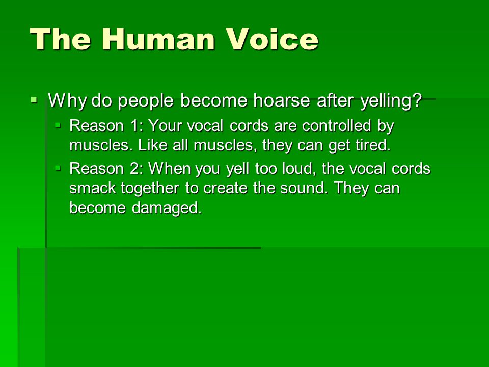 The Human Voice  Why do people become hoarse after yelling.