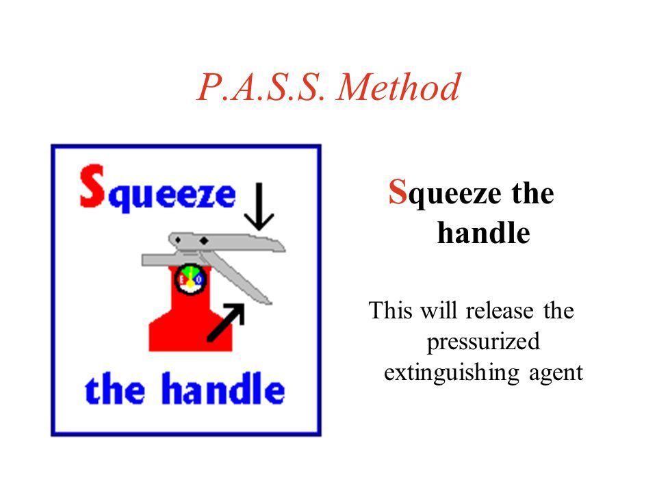 P.A.S.S. Method A im at the base of the fire Aiming at the middle will do no good.
