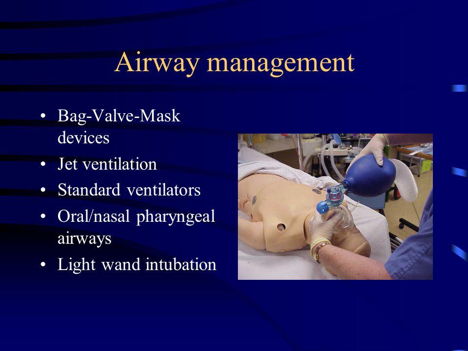 Airway management Placement of endotracheal tubes Combitubes Laryngeal mask airways (LMA) Retrograde intubation Fiberoptic procedures Bronchoscopy
