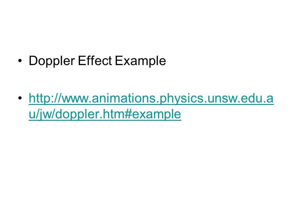 Doppler Effect Example http://www.animations.physics.unsw.edu.a u/jw/doppler.htm#examplehttp://www.animations.physics.unsw.edu.a u/jw/doppler.htm#example