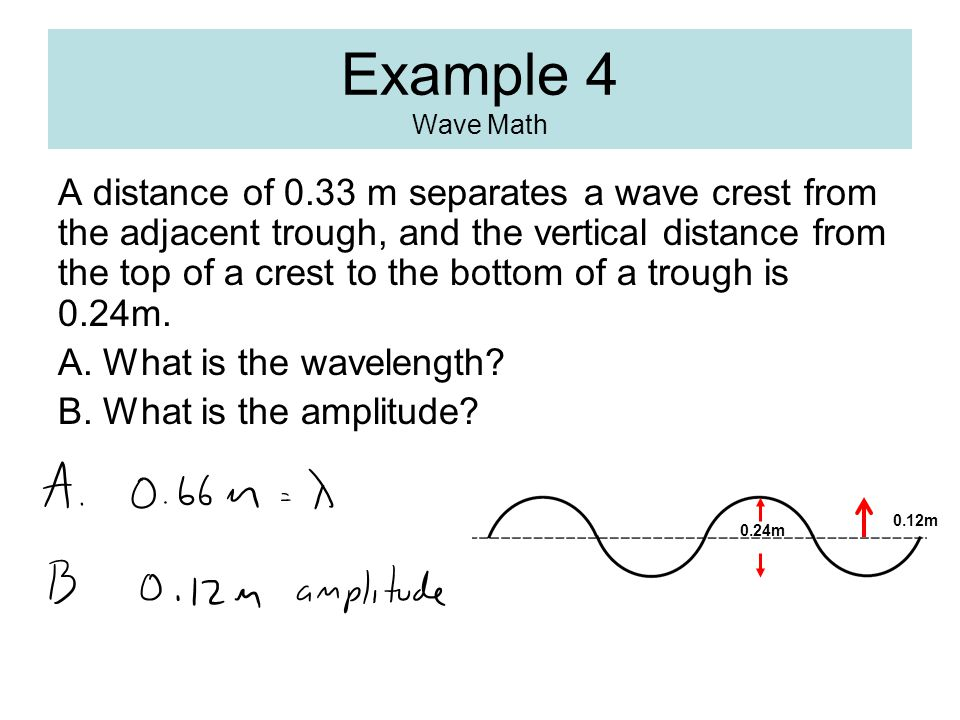 Example 4 Wave Math A distance of 0.33 m separates a wave crest from the adjacent trough, and the vertical distance from the top of a crest to the bottom of a trough is 0.24m.