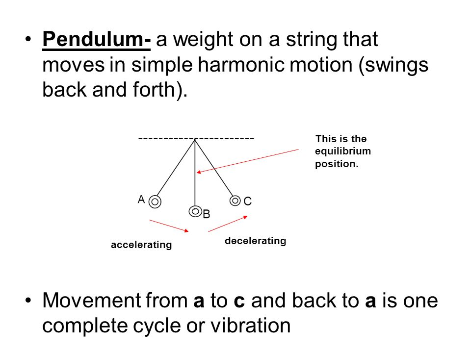 Pendulum- a weight on a string that moves in simple harmonic motion (swings back and forth).