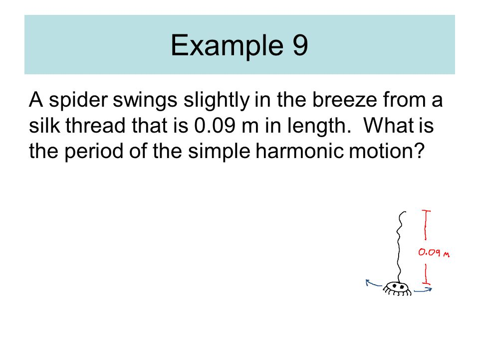 A spider swings slightly in the breeze from a silk thread that is 0.09 m in length.