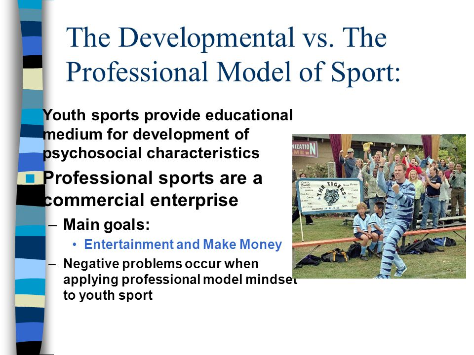 Research indicates that youth athletes (8-14) participate for the following reasons: 1.