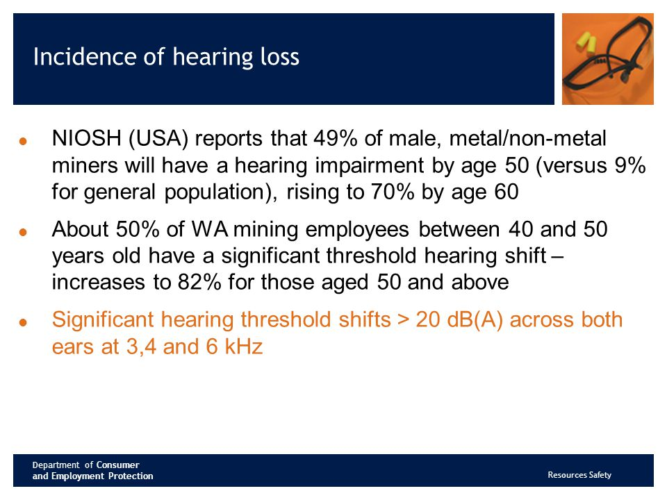 Department of Consumer and Employment Protection Resources Safety Incidence of hearing loss NIOSH (USA) reports that 49% of male, metal/non-metal miners will have a hearing impairment by age 50 (versus 9% for general population), rising to 70% by age 60 About 50% of WA mining employees between 40 and 50 years old have a significant threshold hearing shift – increases to 82% for those aged 50 and above Significant hearing threshold shifts > 20 dB(A) across both ears at 3,4 and 6 kHz