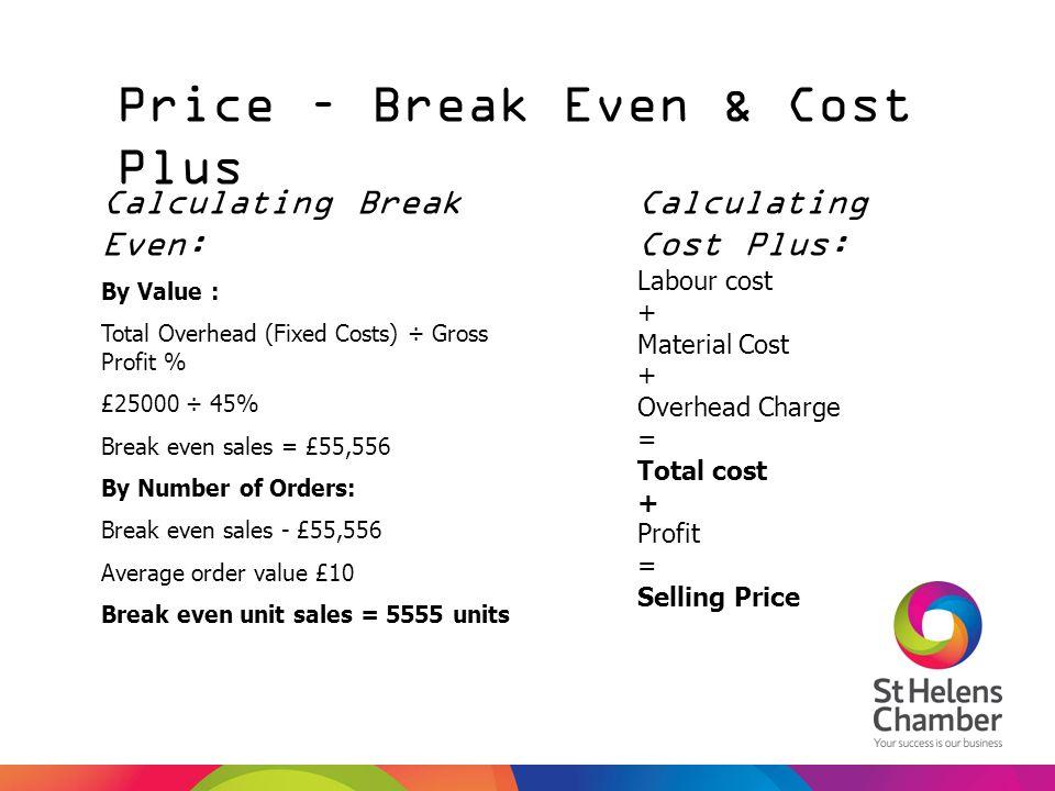 Price – Break Even & Cost Plus Calculating Break Even: By Value : Total Overhead (Fixed Costs) ÷ Gross Profit % £25000 ÷ 45% Break even sales = £55,55