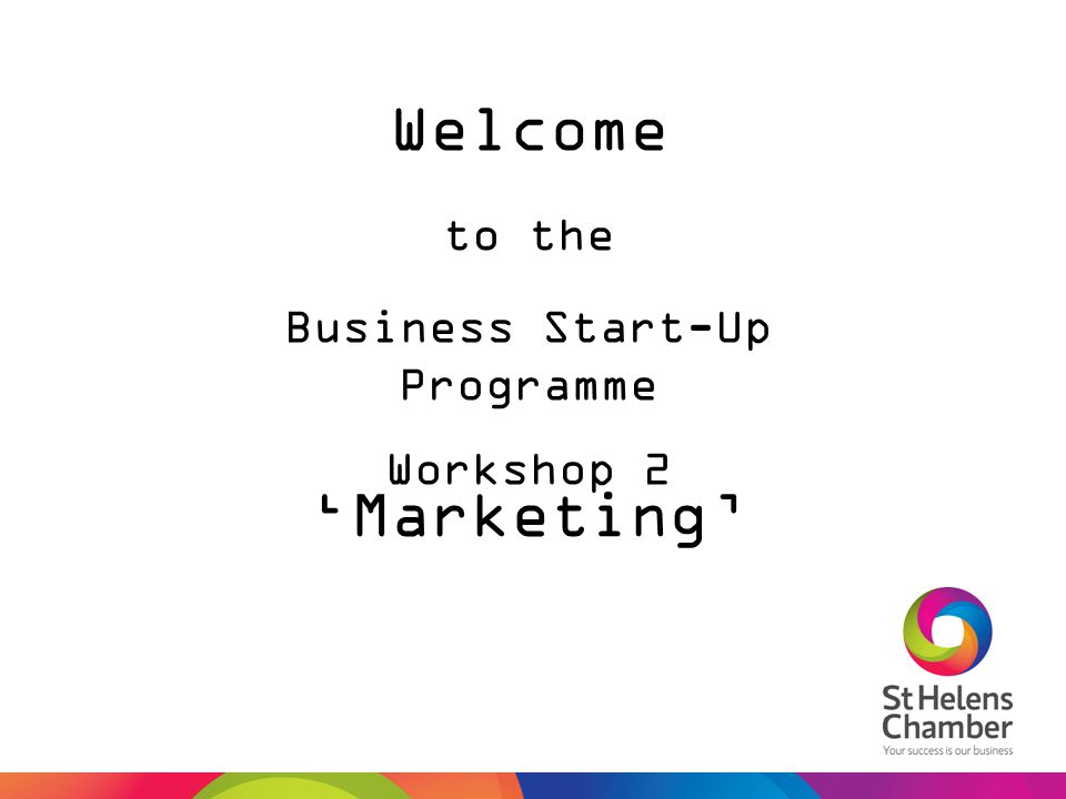Welcome Business Start-Up Programme Workshop 2 to the 'Marketing'