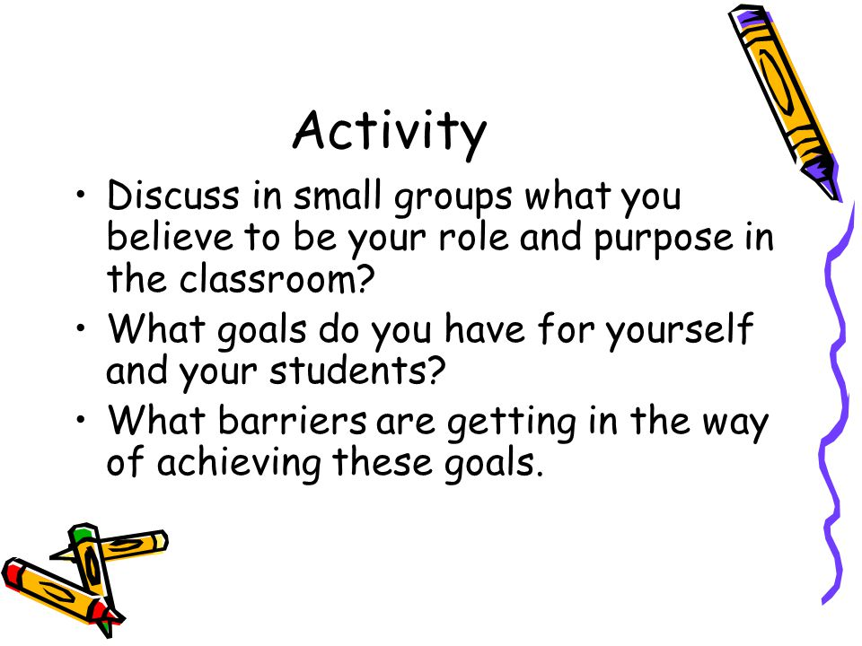 Activity Discuss in small groups what you believe to be your role and purpose in the classroom? What goals do you have for yourself and your students?