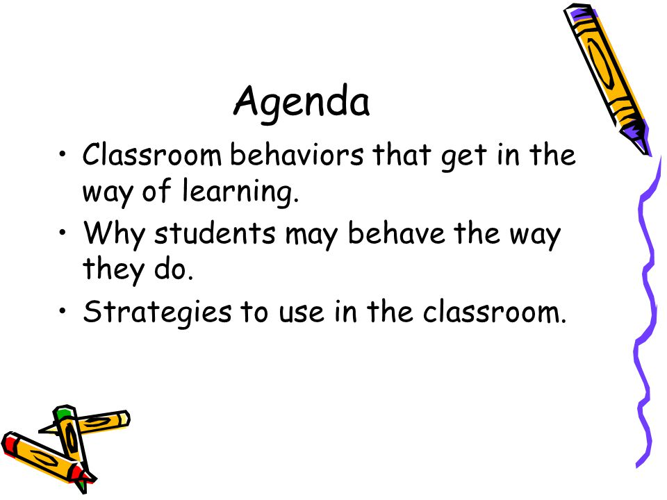 Agenda Classroom behaviors that get in the way of learning. Why students may behave the way they do. Strategies to use in the classroom.