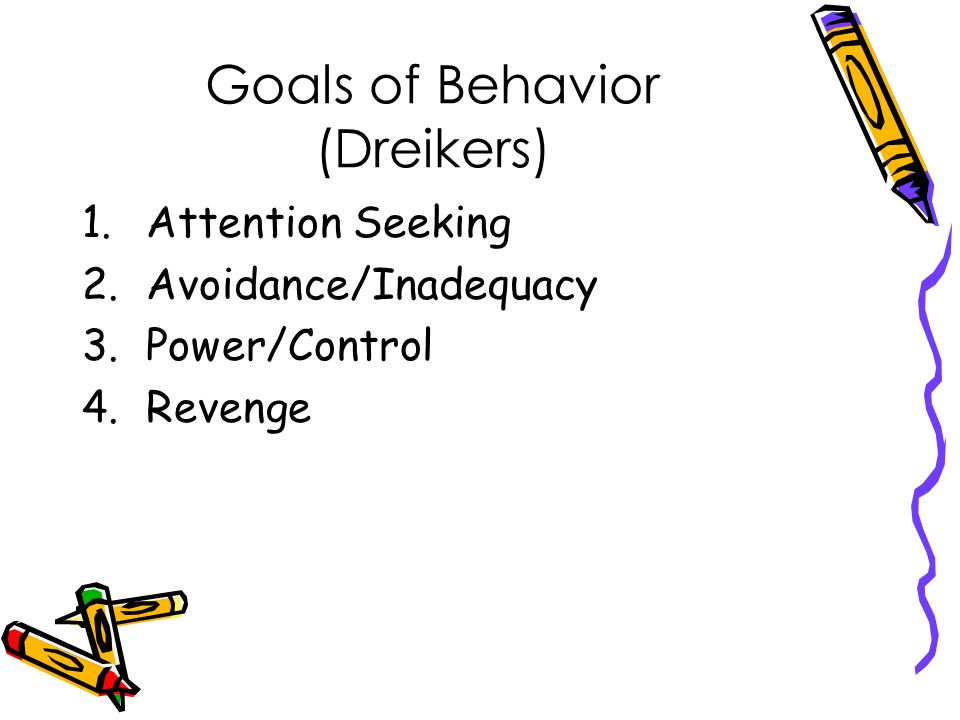 Goals of Behavior (Dreikers) 1.Attention Seeking 2.Avoidance/Inadequacy 3.Power/Control 4.Revenge