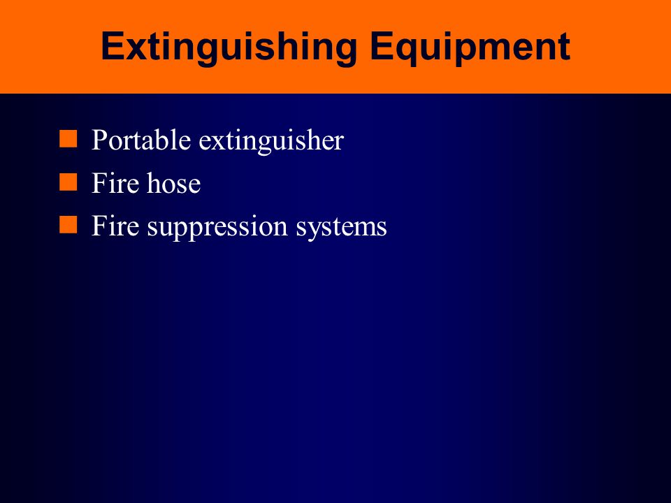 Extinguishing Equipment Portable extinguisher Fire hose Fire suppression systems