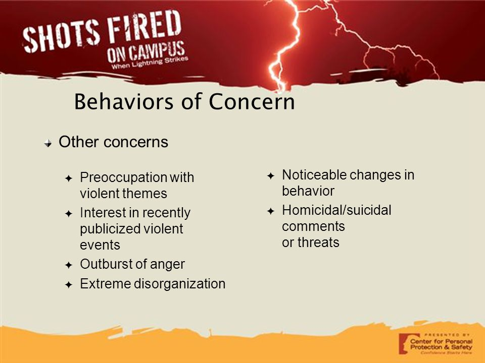 Behaviors of Concern Other concerns ✦ Preoccupation with violent themes ✦ Interest in recently publicized violent events ✦ Outburst of anger ✦ Extreme