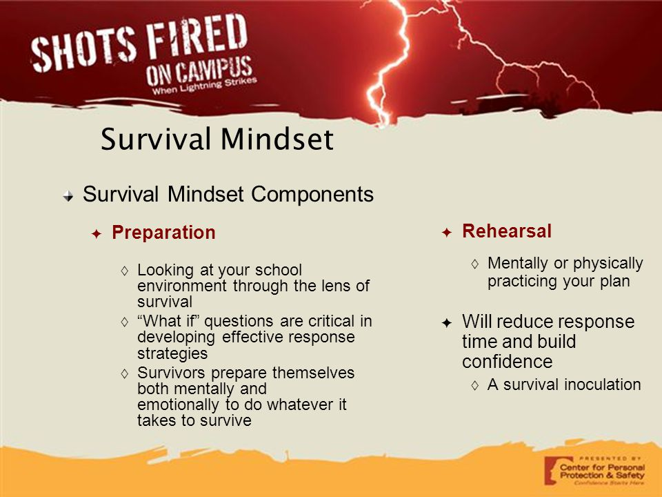 "Survival Mindset Survival Mindset Components ✦ Preparation  Looking at your school environment through the lens of survival  ""What if"" questions are"