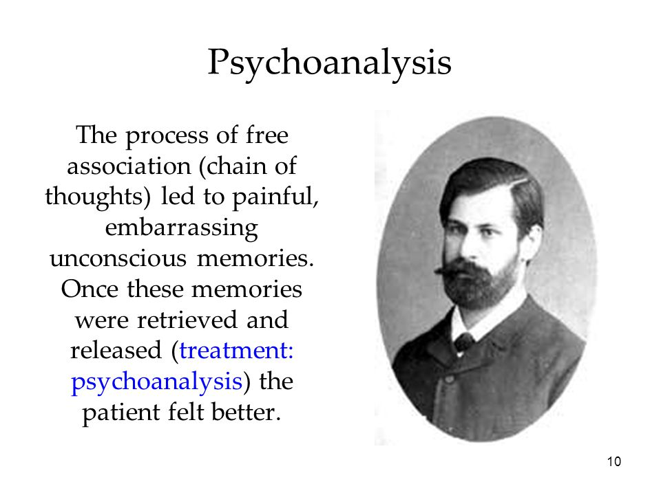 10 Psychoanalysis The process of free association (chain of thoughts) led to painful, embarrassing unconscious memories. Once these memories were retr