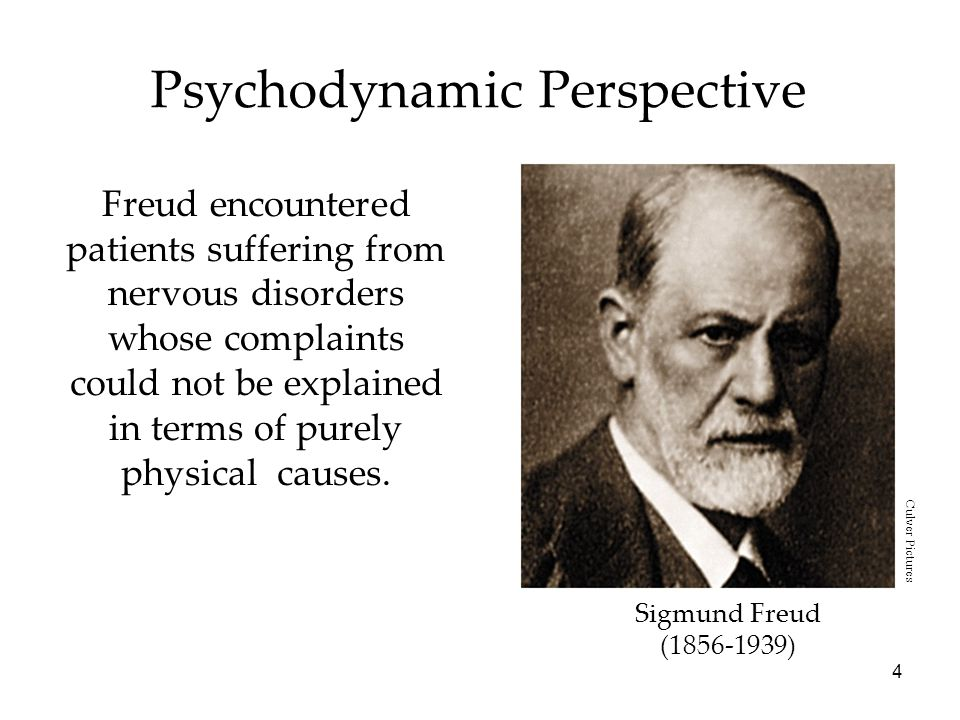 4 Psychodynamic Perspective Freud encountered patients suffering from nervous disorders whose complaints could not be explained in terms of purely physical causes.