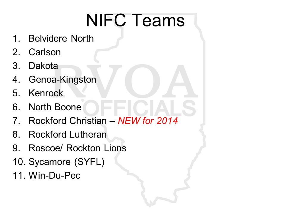 NIFC Teams 1.Belvidere North 2.Carlson 3.Dakota 4.Genoa-Kingston 5.Kenrock 6.North Boone 7.Rockford Christian – NEW for 2014 8.Rockford Lutheran 9.Roscoe/ Rockton Lions 10.Sycamore (SYFL) 11.Win-Du-Pec