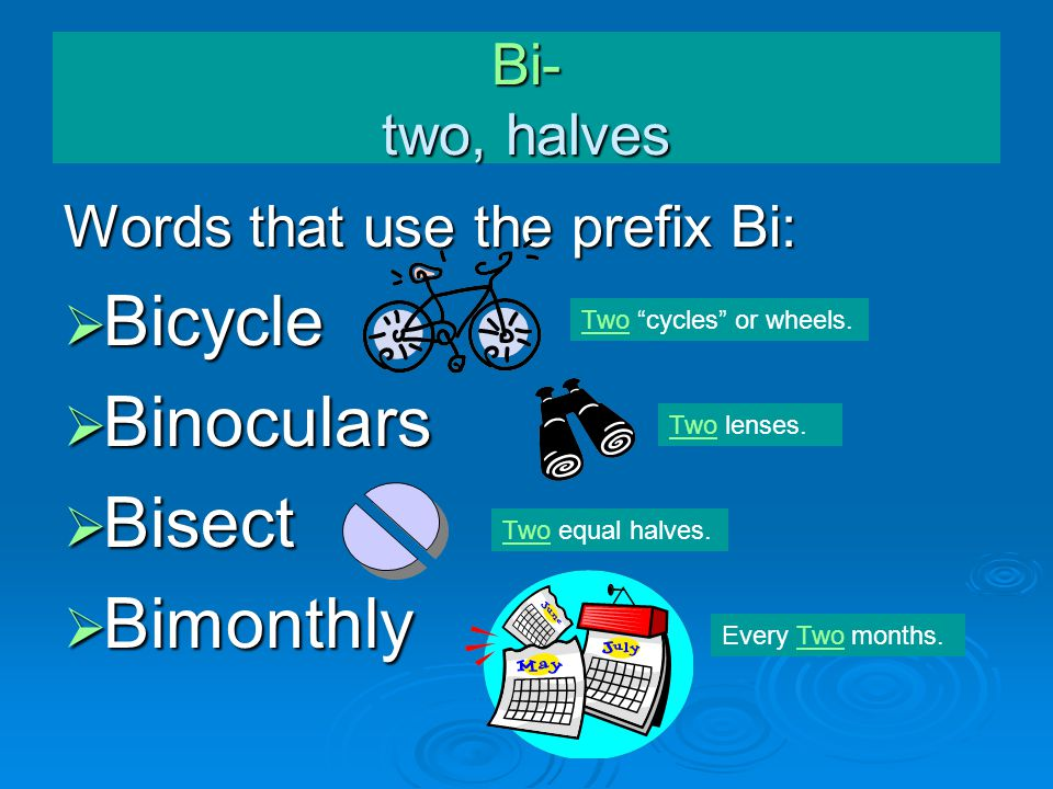 """Bi- two, halves Words that use the prefix Bi:  Bicycle  Binoculars  Bisect  Bimonthly Two lenses. Two """"cycles"""" or wheels. Two equal halves. Every"""