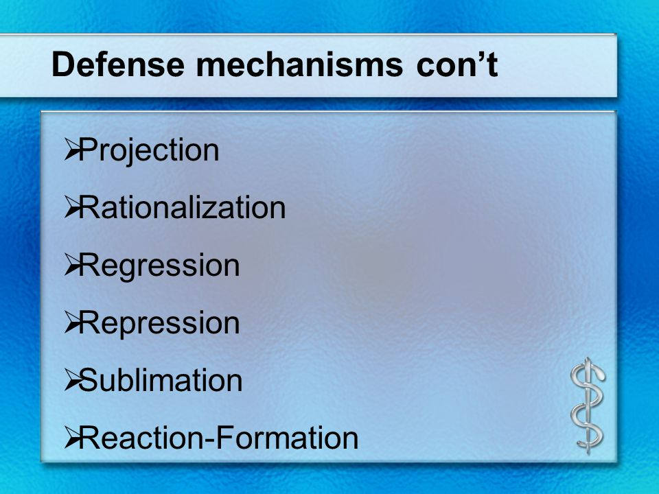 Table of defense mechanisms CCompensation DDaydreaming DDenial DDisplacement iidealization