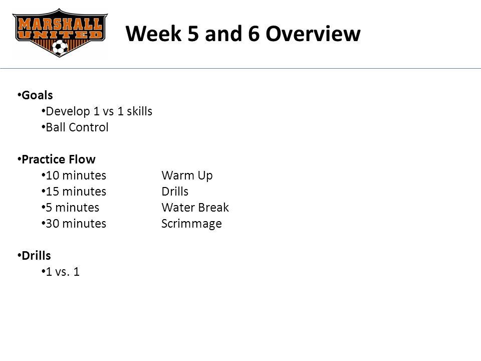 Week 5 and 6 Overview Goals Develop 1 vs 1 skills Ball Control Practice Flow 10 minutesWarm Up 15 minutesDrills 5 minutes Water Break 30 minutesScrimm